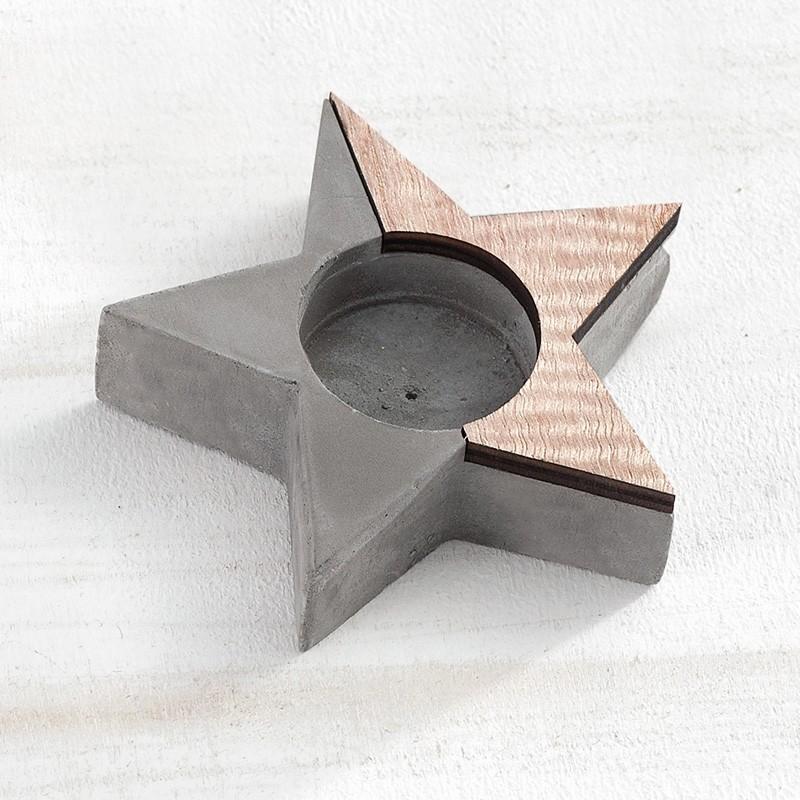 Μπομπονιέρα Βάπτισης Ρεσώ αστέρι από ξύλο & τσιμέντο