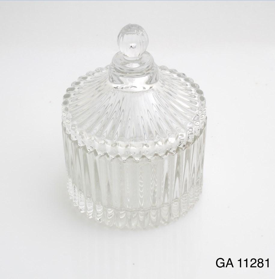 Γυάλινη φοντανιέρα με καπάκι μπομπονιερα βαπτισης-γαμου νεο σχεδιο υψος 9χ7 διαμετρος