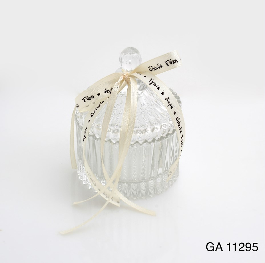 Γυάλινη Φοντανιέρα Με Καπάκι Μπομπονιερα Βαπτισης-Γαμου Νεο Σχεδιο Υψος 9χ7 Διαμετρος χωρις στολισμα