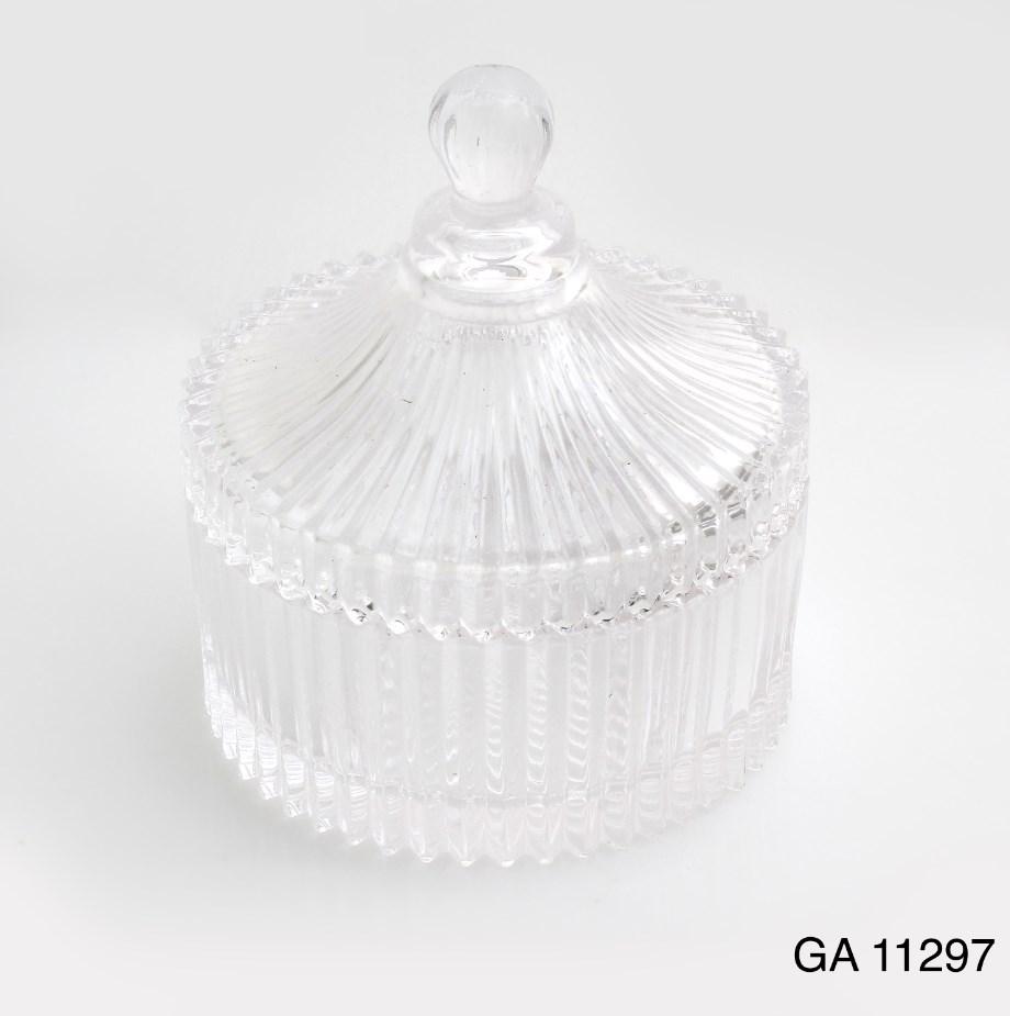 Γυάλινη φοντανιέρα με καπάκι μπομπονιερα βαπτισης-γαμου νεο σχεδιο υψος 13χ10.5 διαμετρος