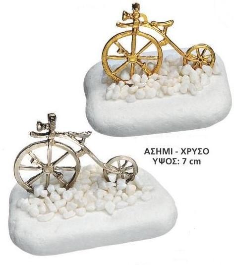 Μπομπονιέρα βάπτισης βότσαλο θέμα βάπτισης ποδήλατο vintage