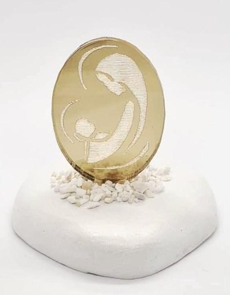 Μπομπονιέρα Βάπτισης Για Αγόρι Κορίτσι Βότσαλο Εικόνα Με Χρυσό Πλέξιγκλας Οικονομική Τιμή
