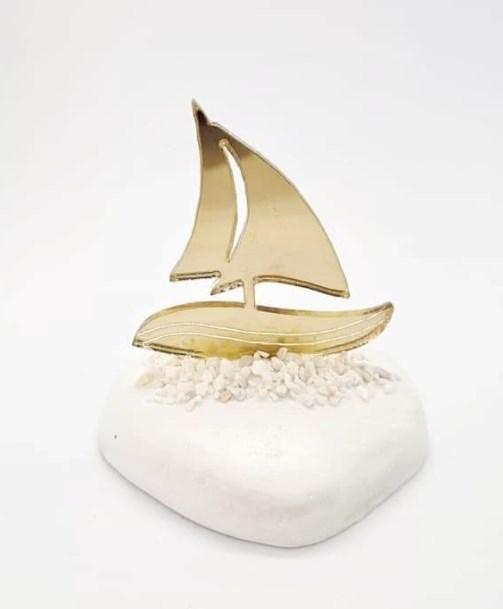 Μπομπονιερα βαπτισης για αγόρι κορίτσι βότσαλο καράβι με χρυσό πλέξιγκλας Οικονομική Τιμή