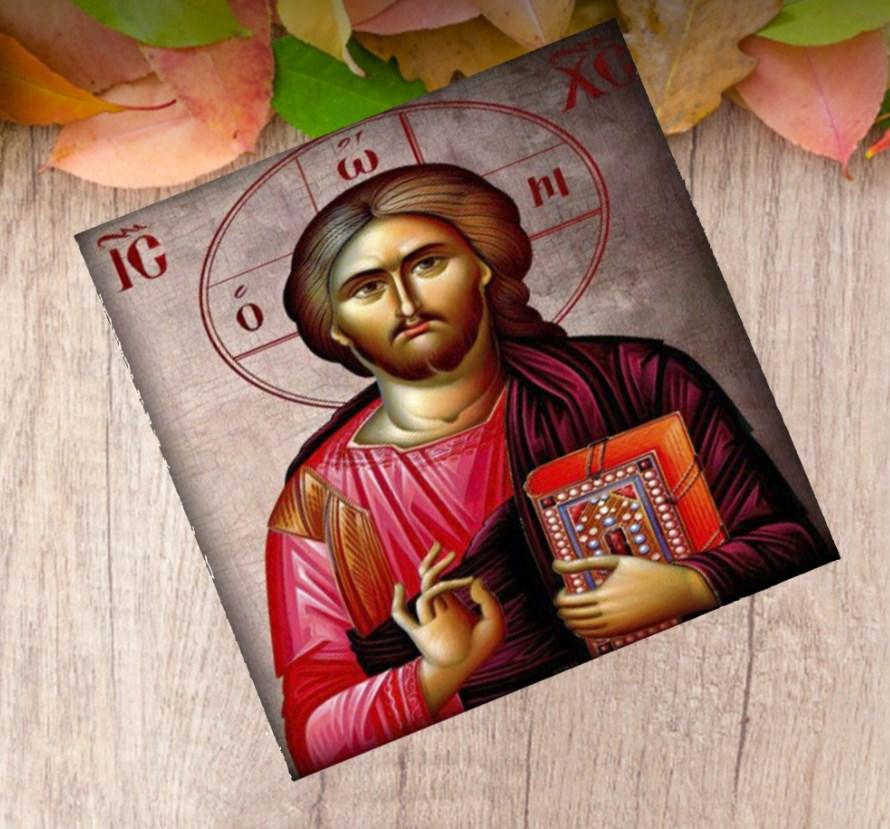 ΕΙΚΟΝΑ ΜΕ Ιησού Χριστό ΞΥΛΙΝΗ ΜΠΟΜΠΟΝΙΕΡΑ ΒΑΠΤΙΣΗΣ ΟΙΚΟΝΟΜΙΚΗ ΤΙΜΗ 11Χ11
