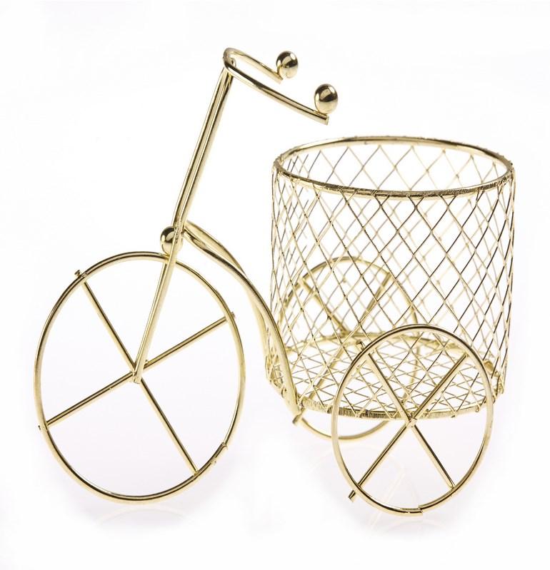 Μπομπονιέρα βαπτισης μεταλλικο χρυσο ποδηλατο 9,5Χ8 εκ.