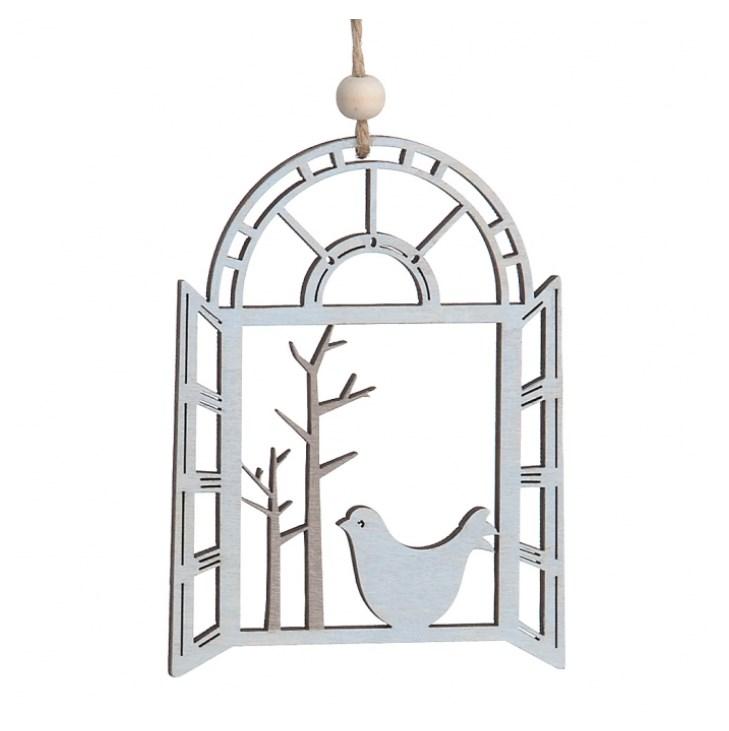 Ξύλινο κρεμαστό παράθυρο με πουλί μπομπονιερα βαπτισης γαμου