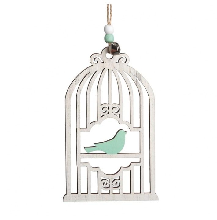 Ξύλινο κρεμαστό κλουβί με πουλάκι μπομπονιερα βαπτισης νεο σχεδιο