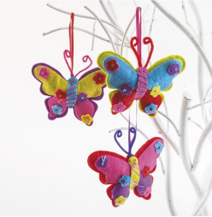 Πεταλούδες τσόχινες υφασματινη μπομπονιερα βαπτισης