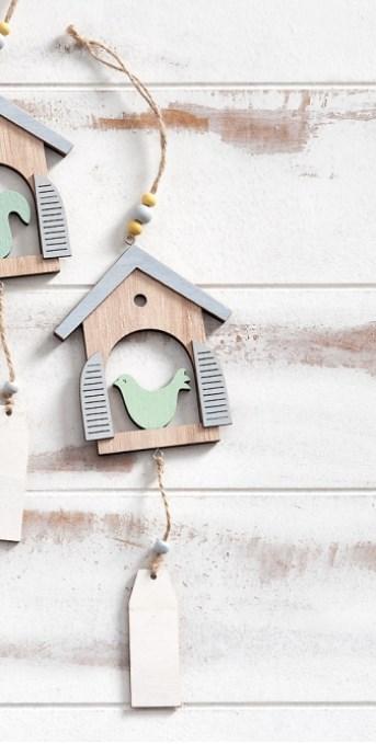Ξύλινο διακοσμητικό σπιτάκι με πουλί ξυλινη μπομπονιερα βαπτισης