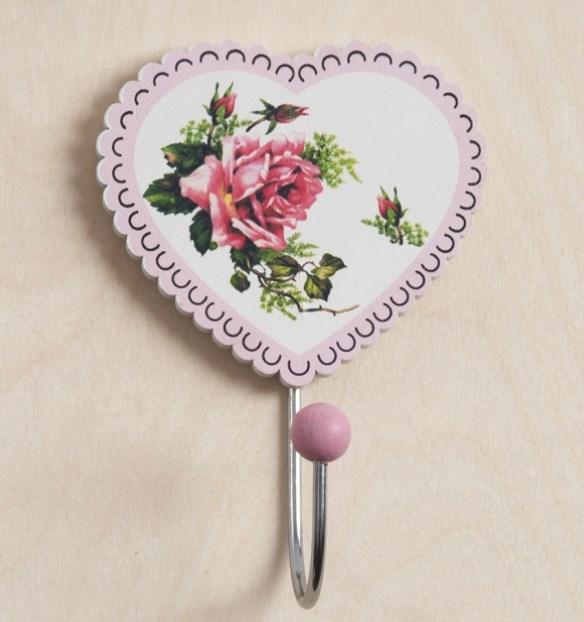Κρεμάστρα Καρδιά με λουλούδι Μπομπονιερα Βαπτισης Ρετρο