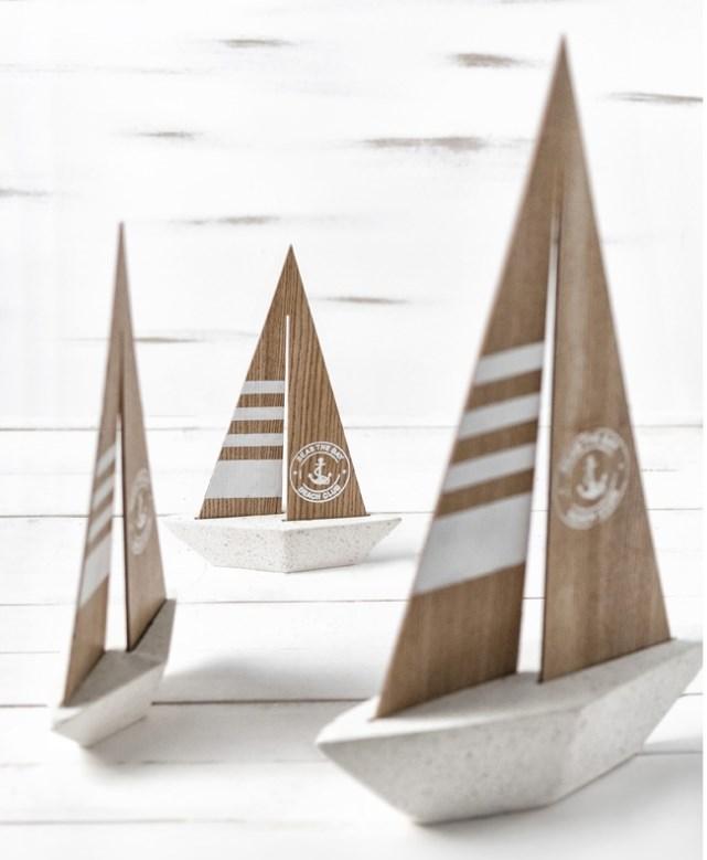 Ναυτικά διακοσμητικά καραβάκια τσιμεντενια ρετρο μπομπονιερα βαπτισης-γαμου