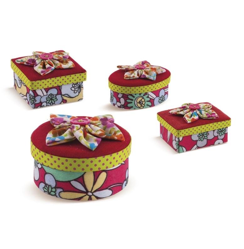 Μπιζουτιέρες κουτακια υφασματινα με λουλουδακια υλικα μπομπονιερας φιαχτο μονος