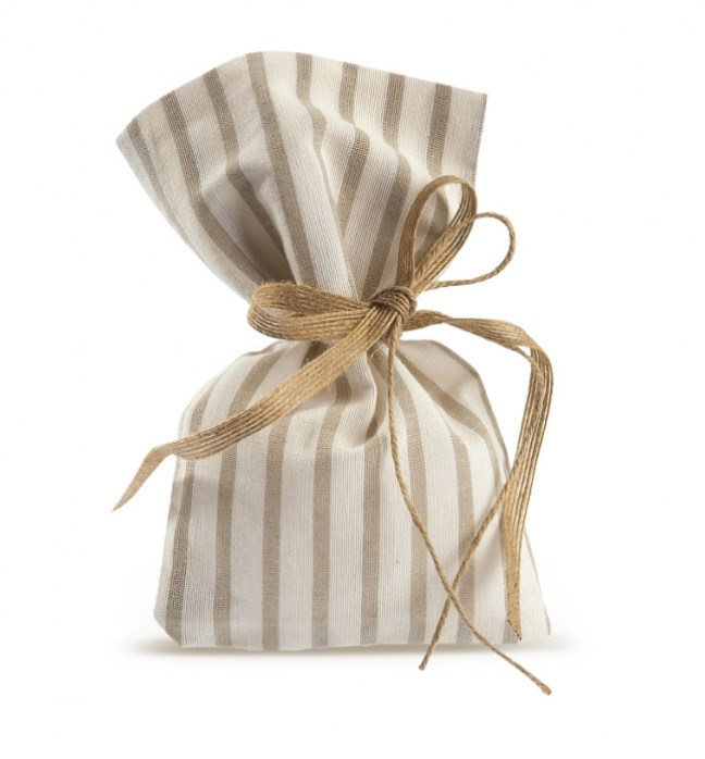 Πουγκί λινό ριγέ καφέ Υλικα Μπομπονιερας Γαμου-Βαπτισης Οικονομικη Τιμη