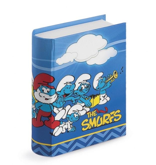 Χάρτινο print βιβλίο πρόσκλησης με τα στρουμφάκια να τραγουδάνε μπομπονιερα βαπτισης
