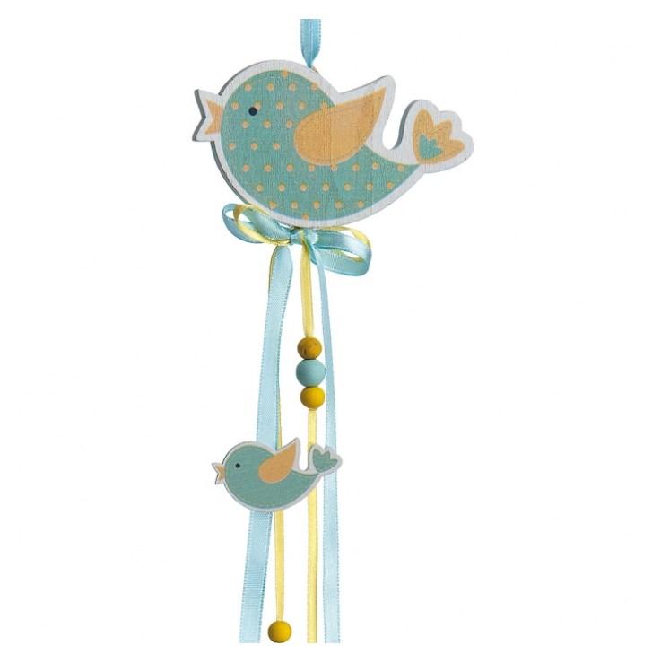 Ξύλινο κρεμαστό πουλί βεραμάν μπομπονιερα βαπτισης νεο σχεδιο